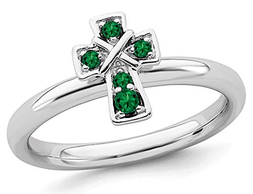 - 1/8 Carat (ctw) Lab Created Emerald Cross Ring in Sterling Silver
