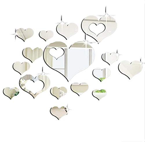 - Ikevan 1Set 15pcs 3D Acrylic Heart-shaped Mirror Wall Stickers Plastic Removable Heart Art Decor Wall Poster Living Room Home Decoration,Multi-size,Silver(Smal)