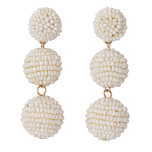 (Occasionally Made Seed Bead Ball Drop Earrings, Pearl)