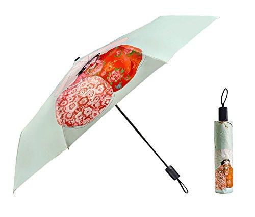 AvaCostume Golf Umbrella Portable Floding Umbrella Waterproof Travel Umbrella Anti-UV Green