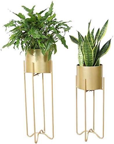 Indoor Outdoor Terrace Patio Home Decor,Lgolden GGJIN Baskets 2-Piece Modern Plant Stand Set with Tall Metal Stand,Mid Century Brass Decorative Standing Flower Succulent Pot Holder Color : Golden