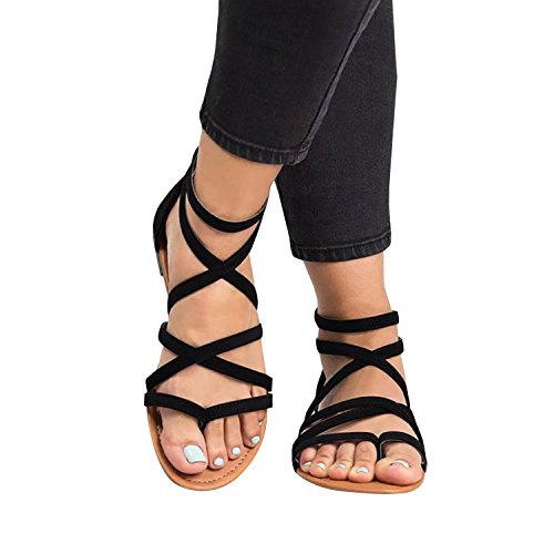 Syktkmx Womens Strappy Flat Thong Criss Cross Ankle Wrap Summer Beach Gladiator Sandals