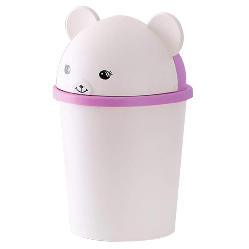 DENTRUN Trash Can Plastic Garbage Bin Rubbish Storage Wastebasket, Cute Animal Baskets Perfect for The Kitchen Bathroom Office Car (6.89''x 14.37'')