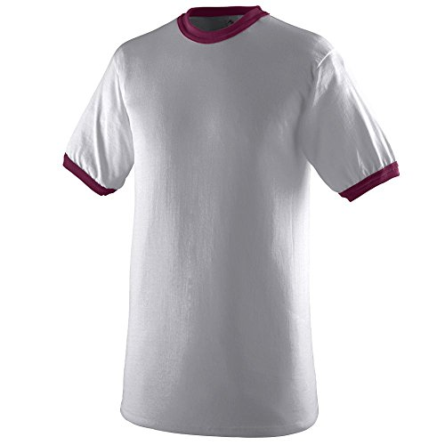 Ringer T-shirt Mens Heather (Augusta Sportswear Mens Ringer Tee Shirt, Athletic Heather/Maroon, Large)