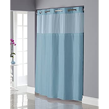 Hookless RBH34MY837 Shiny Texture Herringbone Shower Curtain with Snap-In PEVA Liner -  Crystal Blue