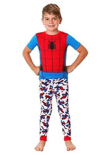 (Marvel Boys' Big Spiderman 3-Piece Cotton Pajama Set, Blue, 8)