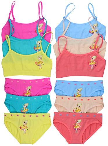 (ToBeInStyle Girl's Pack of 6 Set of Spaghetti Strap Bras and Boyshorts or Bikinis (Small (Ages 4-6), Stellar Ballerina))