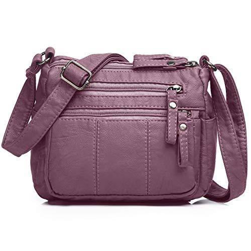(Volcanic Rock Women Crossbody Bag Pocketbooks Soft PU Leather Purses and Handbags Multi Pocket Shoulder Bag (Taro-8.5