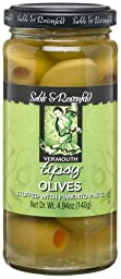 Sable & Rosenfeld Vermouth Tipsy Olives Stuffed with Pimento Paste, 4.94-Ounce Glass Jars (Pack of 6)