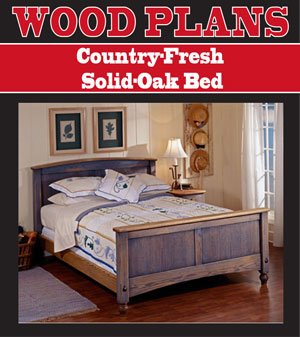Country Fresh Solid Oak Bed Woodworking Paper Plan Pw10059