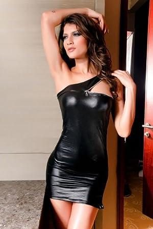 1e1dd34ac53633 Sexy Wetlook Minikleid Kleid m. Reizverschluss Stretch Abendkleid ...