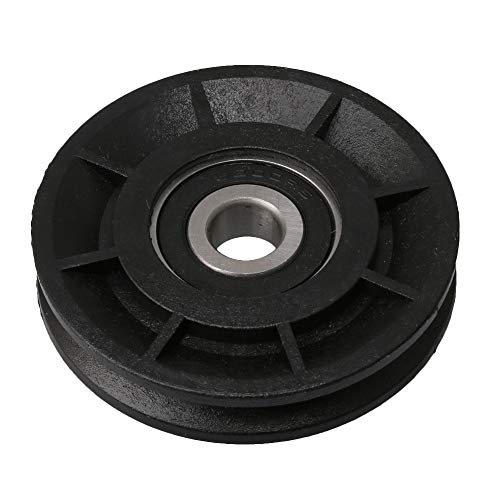 BQLZR 60mm OD Black Nylon Bearing Steel Cable Pulley Wheel Bearing Groove Idler Pulley Load-Bearing 99KG for Gym Equipment