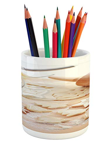Ambesonne Cookie Pencil Pen Holder, Baking Ingredients Scattered in Flour Gingerbread Milk in a Jar Christmas Vibes, Printed Ceramic Pencil Pen Holder for Desk Office Accessory, Multicolor - House Ingredients Gingerbread