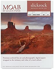 """The Moab Slickrock 300gsm 13x19"""" photo paper (25 sheets) is a very shiny inkjet metallic paper with a instant dry surface. Prints on Slickrock Silver add depth to images with the silver reflective shine, giving a very unique quality. This uni..."""