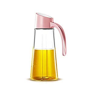 wellhouse Oil Container Glass Olive Oil Dispenser Bottle With Automatic Cap Condiment Vinegar Dispensing Cruet Leakproof Non-Slip Handle (Pink)