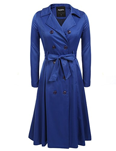 Zeagoo Women's Single Breasted Double Collar Trench Coat Blue (Blue Trench Coat)