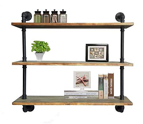 Diwhy Shelves Industrial Shelf with Pipe DIY Retro Wall Mount Iron Pipe Shelf Storage Shelving Bookshelf 36