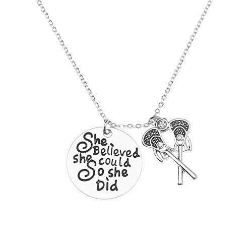 Sportybella Lacrosse Necklace, Lacrosse She Believed She Could So She Did Jewelry for Lacrosse -