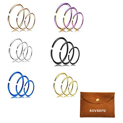 SOVSEFD 18 PCS 20 Gauge Fake Septum Nose Rings Hoop Non Piercing 316L Stainless Steel Clip On Faux Lip Ear Nose Hoop Ring Studs Earrings Fake Body Piercings for Women Men Girl Piercing (6/8/10MM)
