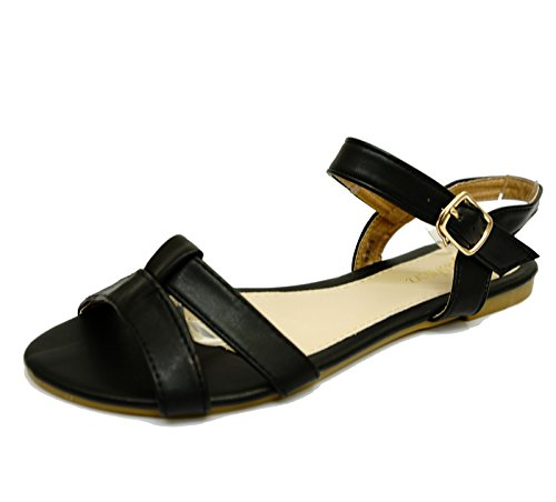 Damen Schwarz Flach Riemen Gladiator Sommer Sandalen Flip Flop Strandschuhe Größen 3-8
