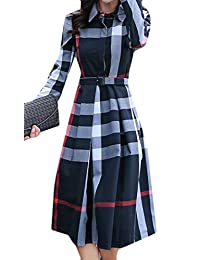 BU2H - Vestido de manga larga para mujer, estampado a cuadros