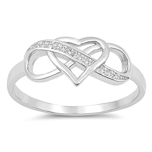 Clear CZ Infinity Love Knot Heart Promise Ring Sterling Silver Band Sizes 4-10