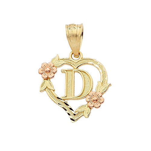 (10k Two-Tone Initial Heart Pendant for Women in Yellow and Rose Gold - Letter)