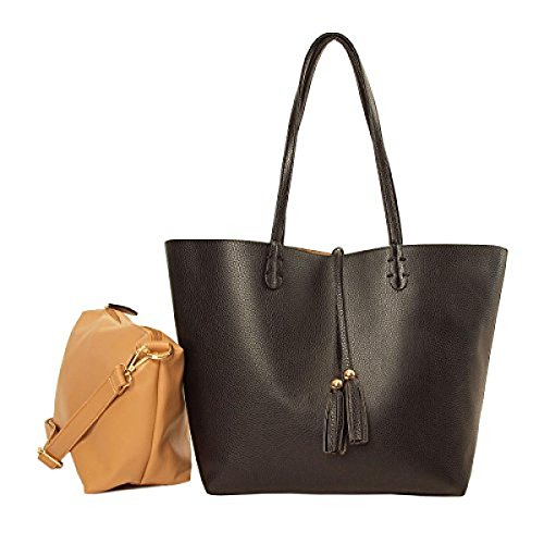 Imoshion Women's Reversibile Bag-In-A-Bag Tote Bag with Removable zip pouch Black Tan