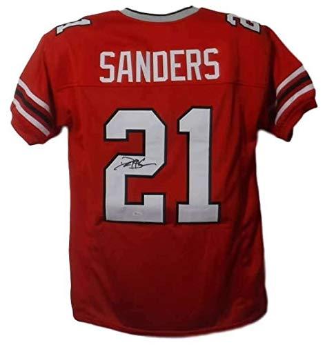 (Deion Sanders Autographed/Signed Atlanta Falcons XL Red Jersey JSA)