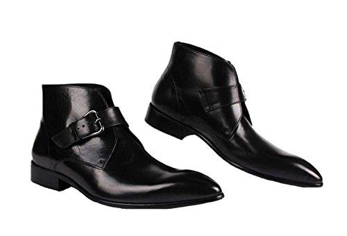Santimon-Mens Genuine Leather Handsewn High-top Ankle Boots Business Shoes Black llIyKaTUC