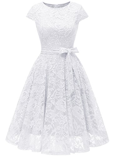(MUADRESS 6008 Short Bridesmaid Dresses with Cap-Sleeve Chic Lace Formal Dresses L)