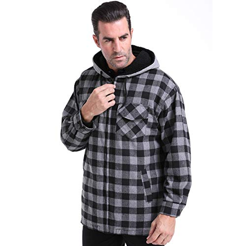 (Mens Casual Plaid Shirt Warm Jacket Classic Hoodie Work Lined Fleece Sweatshirts Cotton Long Sleeve Outdoor Twill Coat Tops Full Zip Autumn Winter Workout Travel Hiking Fishing Camping(BlackGrey, XXL))