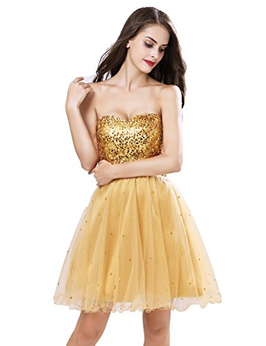 Sarahbridal Homecoming Dresses Short Sequins Gowns 032 Mine gold Tullle Prom Party Womens qwrFUq6