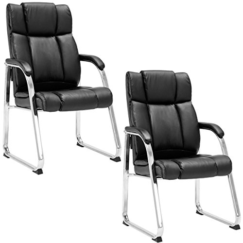 Giantex 2 PCS Reception Chair PU Leather High Back Conference Office Chair with Arms