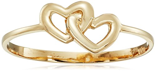 - 14k Italian Yellow Gold Entwined Hearts Ring, Size 8