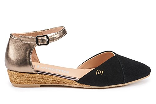Espadrilles In Montroig Spain VISCATA Suede Sandal Toe Strap Closed Blackoldgold Ankle Made Flats 1