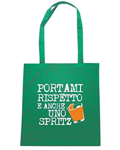 T-Shirtshock - Bolsa para la compra T0839 portami rispetto ed anche uno spritz bevande sballo Verde