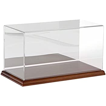 Plymor Clear Acrylic Display Case with Hardwood Base (Mirror Back), 12