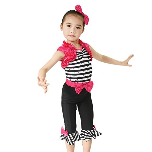[MiDee Two Pieces Bow Zebra Vest Tap & Jazz Outfits Dance Costume (IC, Multi Color)] (Pictures Of Jazz Dance Costumes)
