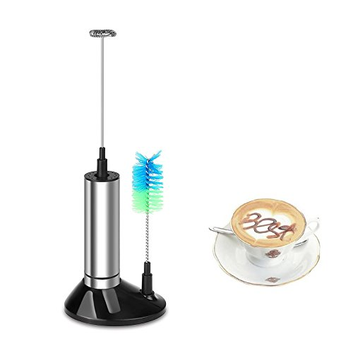Lemonbest Handheld Battery Operated Milk Frother Stainless Steel One Touch Electric Foam Maker with Brush Head and Mounting Bracket