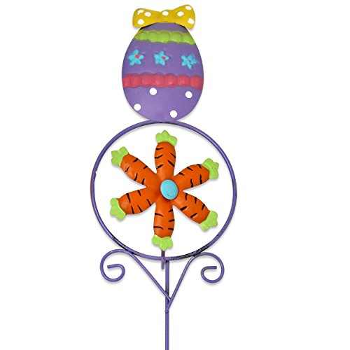 6 Pack Easter Yard Decorations Metal Garden Stakes Bunny Egg and Chick with Carrot Pinwheels Windmill and Wind Spinner Spring Outdoor Signs for Sidewalk Patio Lawn Home Party Decor by Gift Boutique