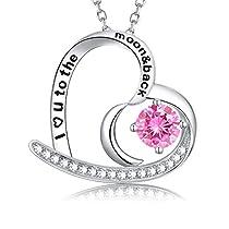 Love Heart Moon Necklace Peridot Jewelry Sterling Silver Swarovski Birthday Gift for Women