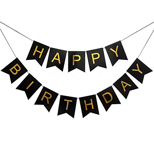 DANMY Pink Blue White Happy Birthday Bunting Banner with Shimmering Gold Letters Birthday Decorations (Black)