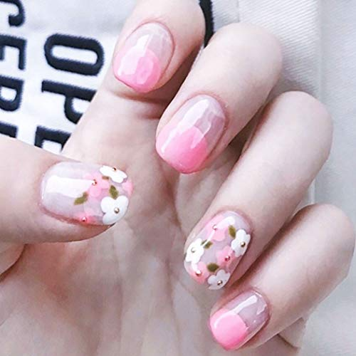 Drecode Fashion False Nails Bling Flower Square Full cover Fake Nails Wedding Birthday Party Clip on Nails for Women and Girls(24Pcs)