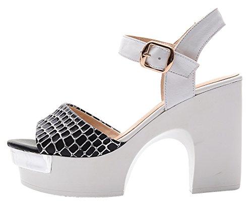 Summer Sexy Peep-toe Rough High Heel Platform Leather Shoes Women Shoes(8 B(W) US, black)