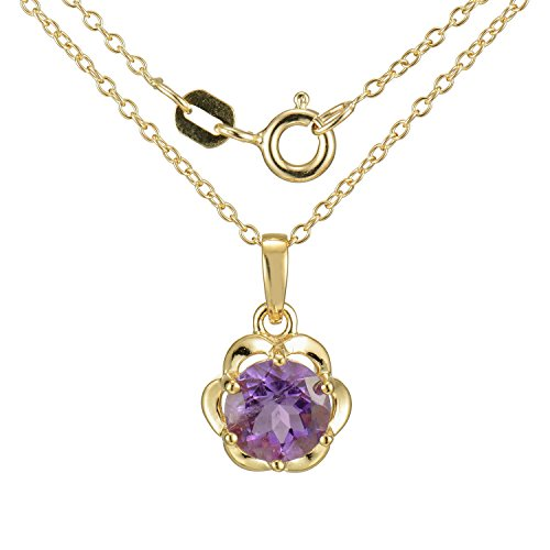 18k Yellow Gold Plated Sterling Silver Genuine African Amethyst Flower Pendant Necklace, 18