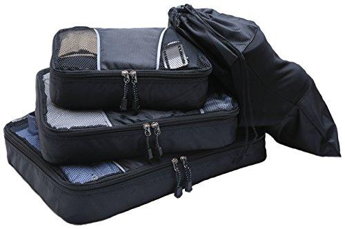 CHRISTMAS SMASHING SALE - ProZek #1 BEST RATED 3 Piece Packing Cubes Plus Shoe / Laundry Bag Travel