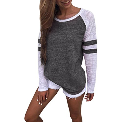 Wintialy Women Fashion T Shirt - Stripe Splice Casual Long Sleeve Blouse Boyfriend Style (Dark Gray, M)