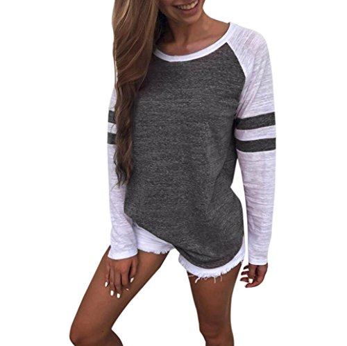 Wintialy Women Fashion T Shirt - Stripe Splice Casual Long Sleeve Blouse Boyfriend Style (Dark Gray, S) -