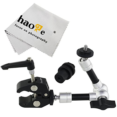 Haoge 7 inch Articulating Friction Magic Arm with Small Clamp Clip for HDMI LCD Monitor LED Light DSLR Camera Video Tripod Flash Lights Microphone TPCAST HTC Vive Pro Base Station lightinghouse by Haoge